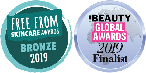 The Free From Skincare Awards Bronze Logo and the Pure Beauty Global Awards Finalist Logo