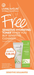 Free Sensitive Hydrating Toner when you buy new Living Nature Sensitive Cleanser