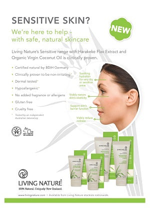 Living Nature's new Sensitive Skin range is clinically proven to achieve visible redness reduction