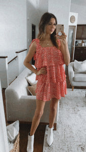 MAISEY RED RUFFLE MINI DRESS