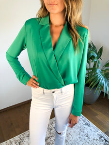 KELLY GREEN LONG SLEEVE BODY SUIT