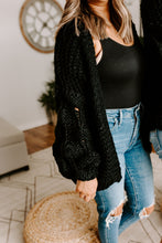 Load image into Gallery viewer, BLACK POMPOM CARDIGAN