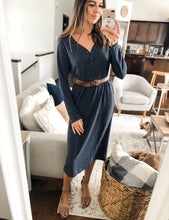 Load image into Gallery viewer, COZY INDIGO MIDI DRESS