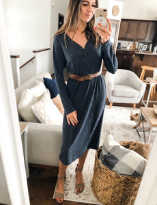 COZY INDIGO MIDI DRESS