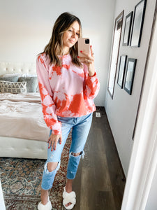 PINK & RED TIE DYE CREW NECK