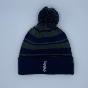 Shotgun Start Grey/Navy Striped Winter Hat