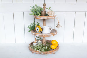 Beaded Wood 3-Tier Tray - Urban Farmhouse Market