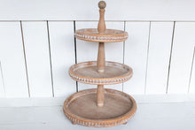 Load image into Gallery viewer, Beaded Wood 3-Tier Tray - Urban Farmhouse Market