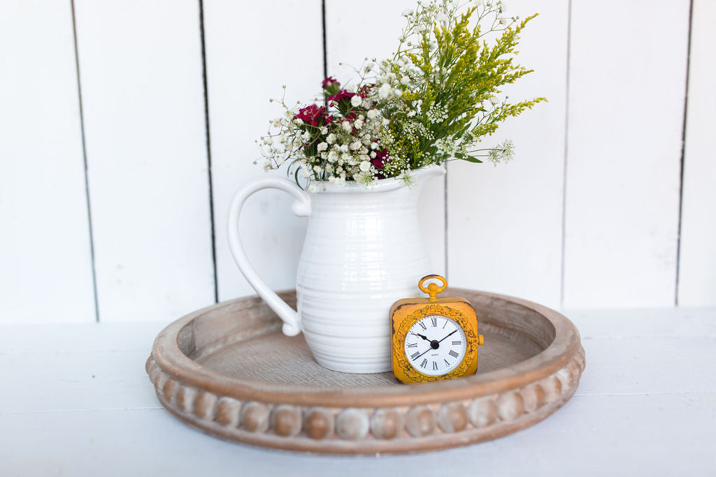 Flat Circle Wood Beaded Tray - Urban Farmhouse Market
