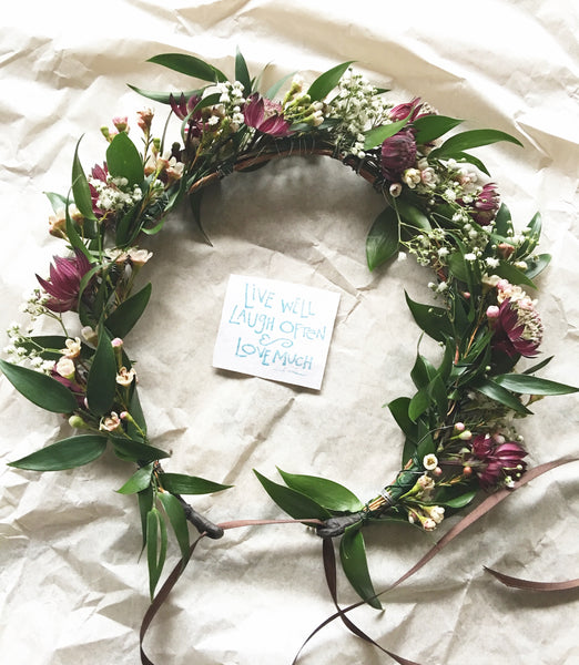 Fresh Flower crown, flower crowns, fresh flower crown flower bar