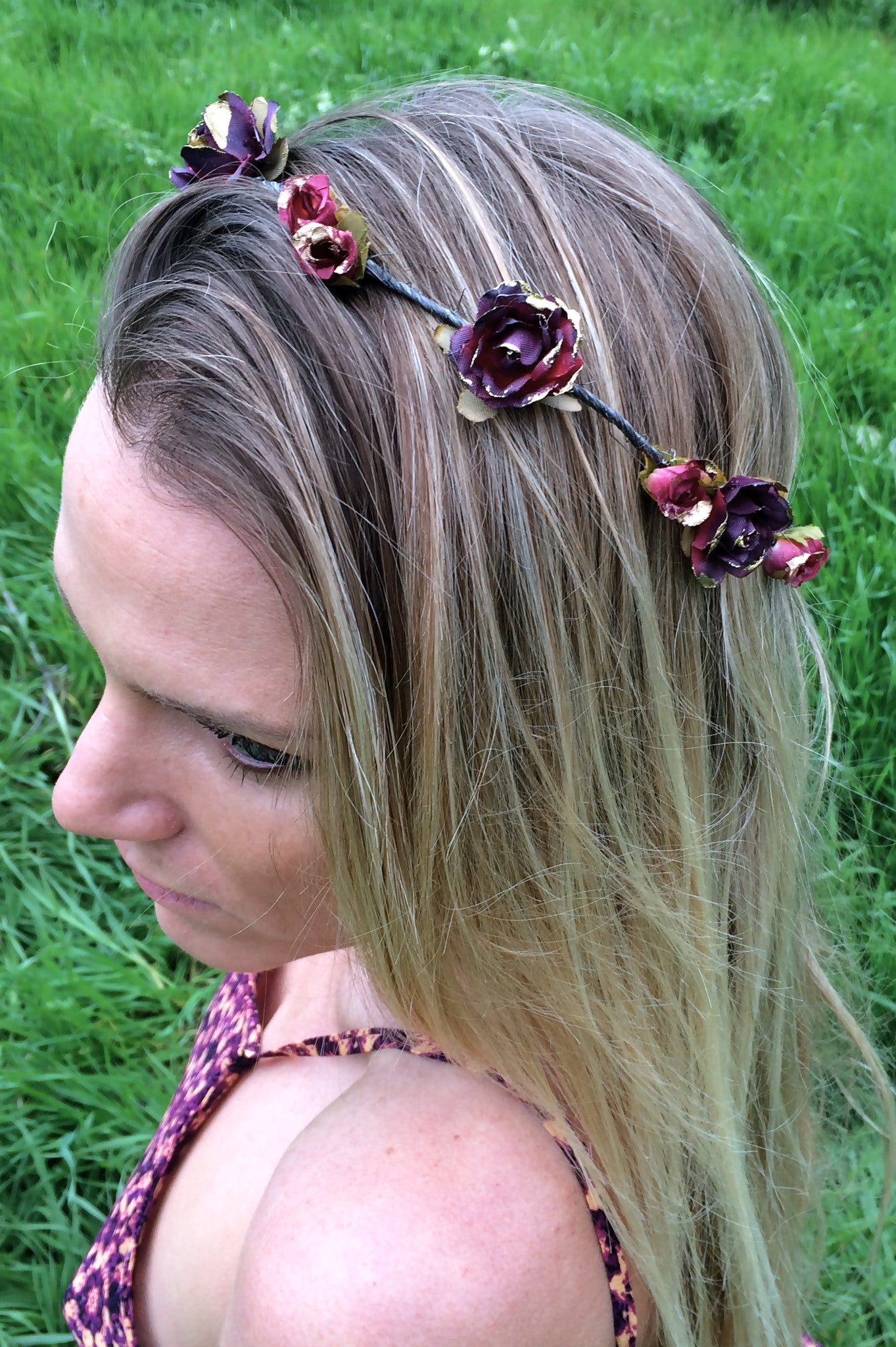 Eterie red flower crown bohemian gypsy flowers crownsbeachy hair flower crown izmirmasajfo