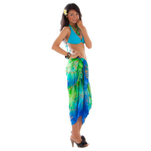 EMBROIDERED TIE DYE SARONG IN BLUE/LIME GREEN