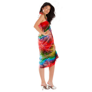 EMBROIDERED TIE DYE SARONG IN RED/GREEN.