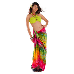 EMBROIDERED TIE DYE SARONG IN FUCHSIA/GREEN