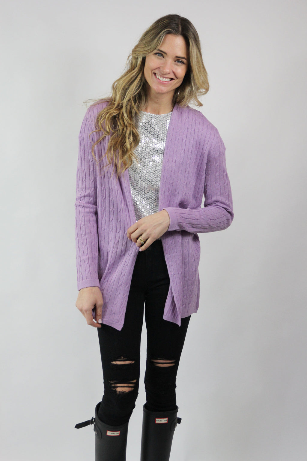 UNIONVILLE SILK CASHMERE CARDI Cabled Duster Sweater
