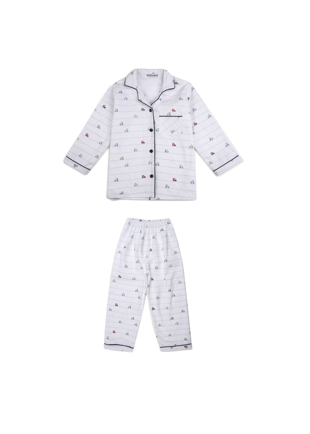 Car Print Long Sleeve Kids Nightsuit