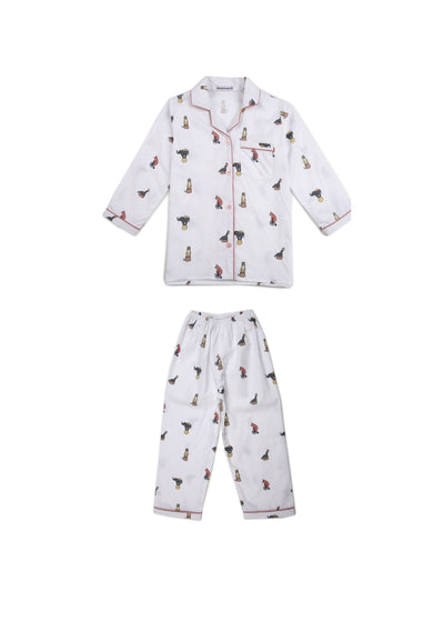 Circus Print Long Sleeve Kids Nightsuit