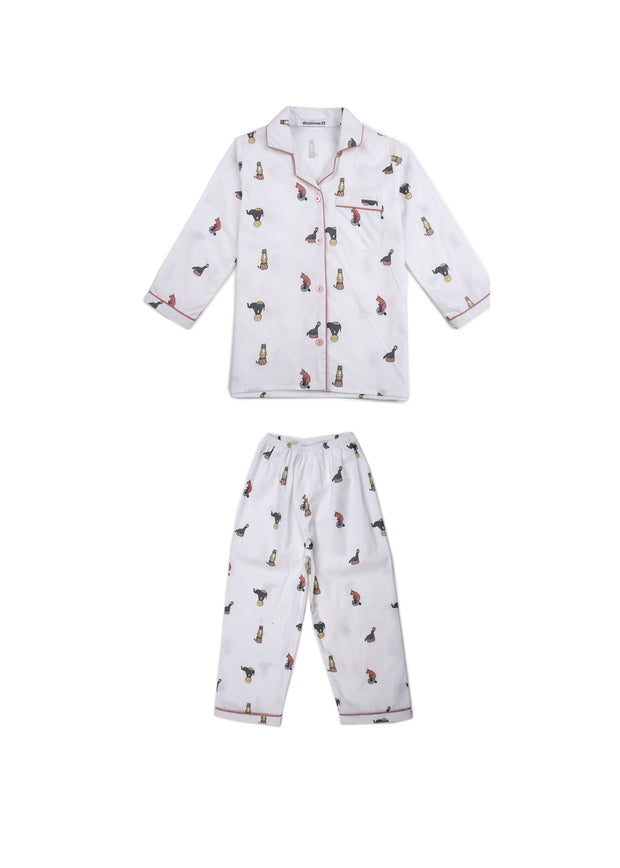 Circus Print Long Sleeve Kids Night Suit