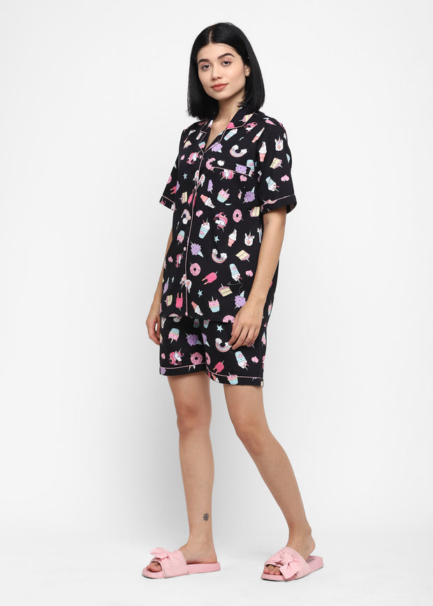 Black Unicorn Print Shirt and Shorts Women's Set