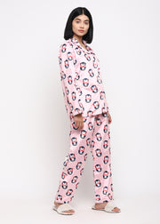 Penguin Print Velvet Long Sleeve Women's Night Suit