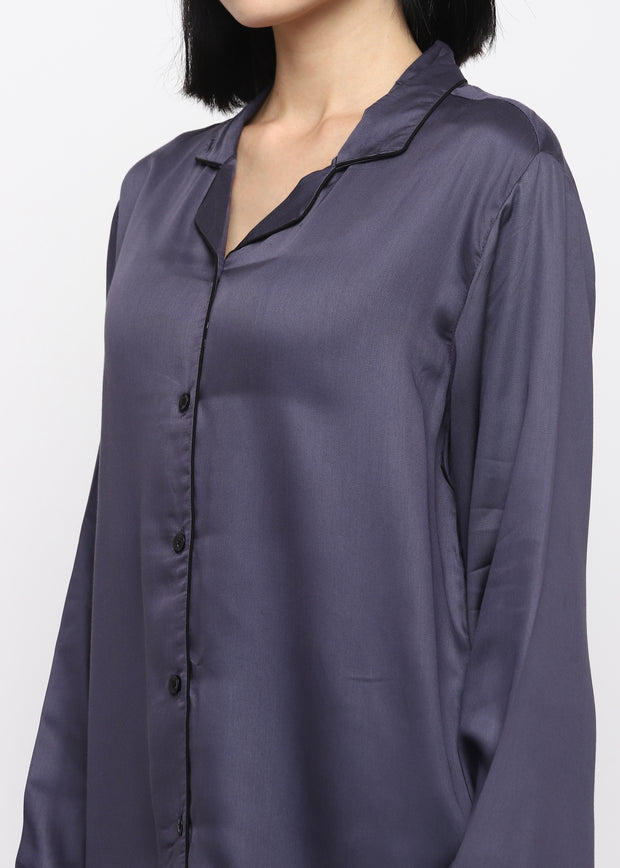 Ultra Soft Dark Grey Modal Satin Long Sleeve Women's Night Suit