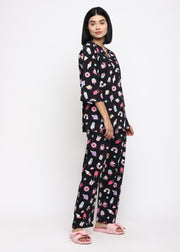 Black Unicorn Print V Neck Long Sleeve Women's Night Suit