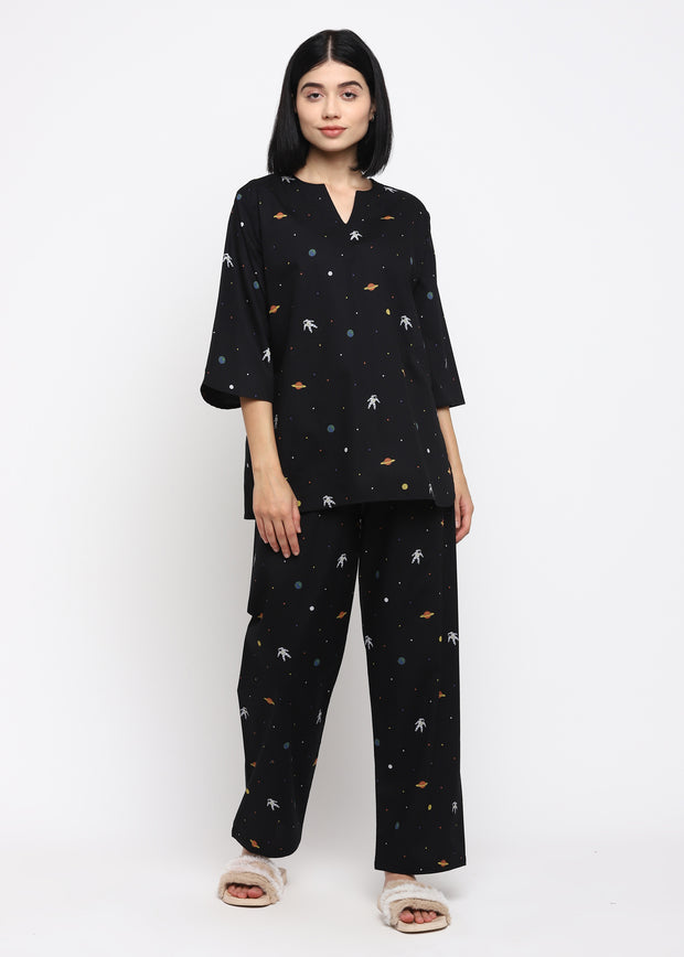 Space Print V Neck Long Sleeve Women's Night Suit