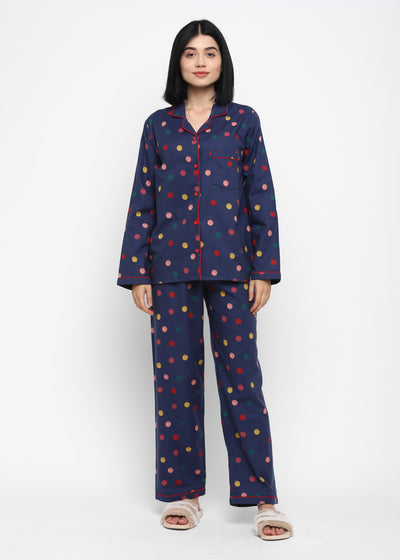 Colorful Dots Print Cotton Flannel Long Sleeve Women's Night Suit