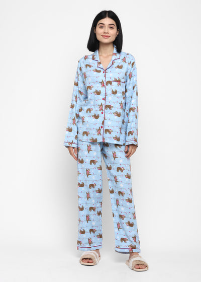 Sleeping Sloth Print Cotton Flannel Long Sleeve Women' Night Suit