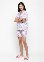 Unicorn Diamond Print Shirt and Shorts Women's Set