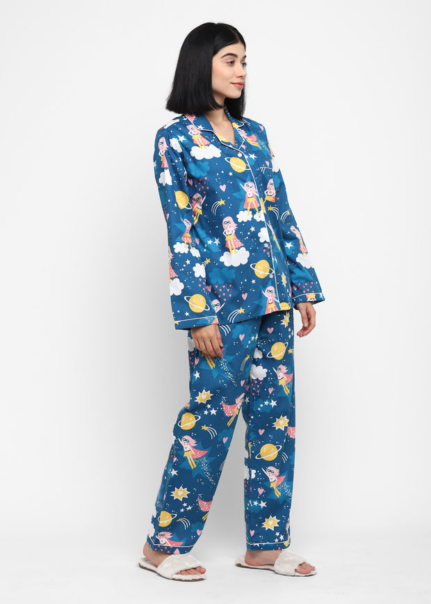 Wonder Girl Print Long Sleeve Women' Night Suit