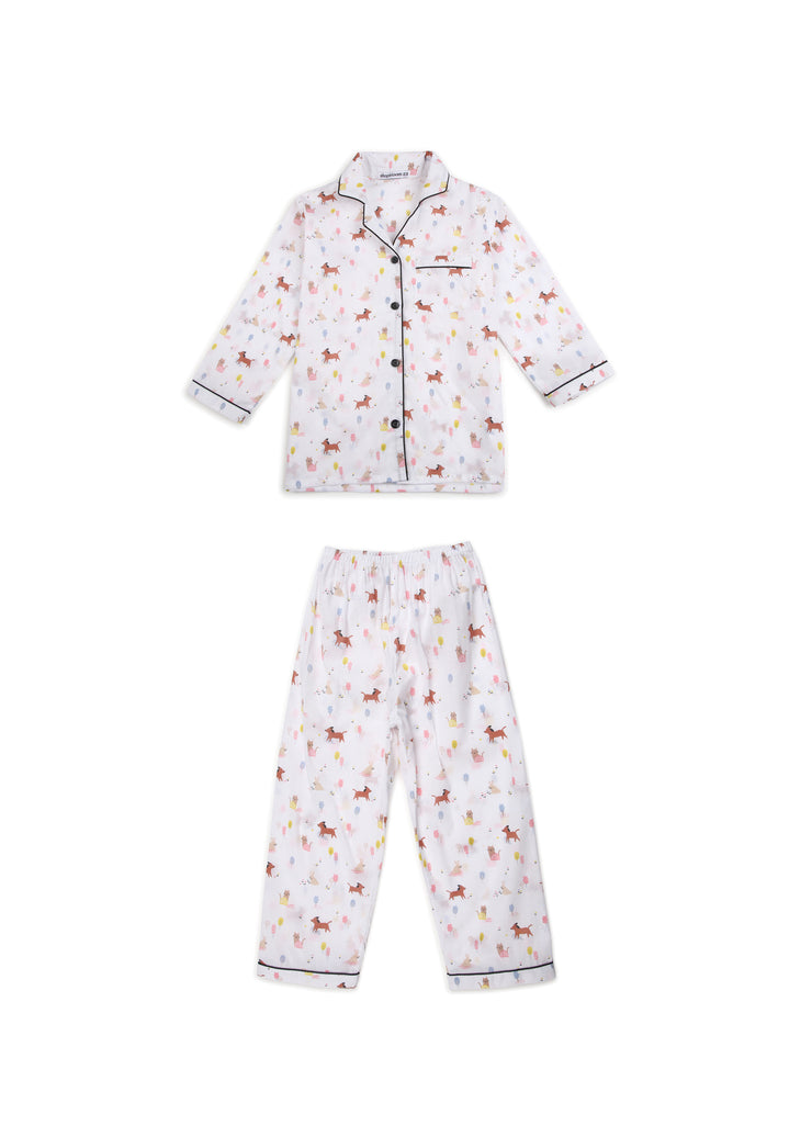 Dog Print Long Sleeve Kids Night Suit