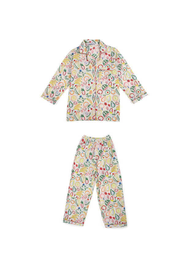 Fruit Basket Print Long Sleeve Kids Night Suit