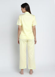 Yellow Mellow Cotton Sateen Short Sleeve Women's Night Suit