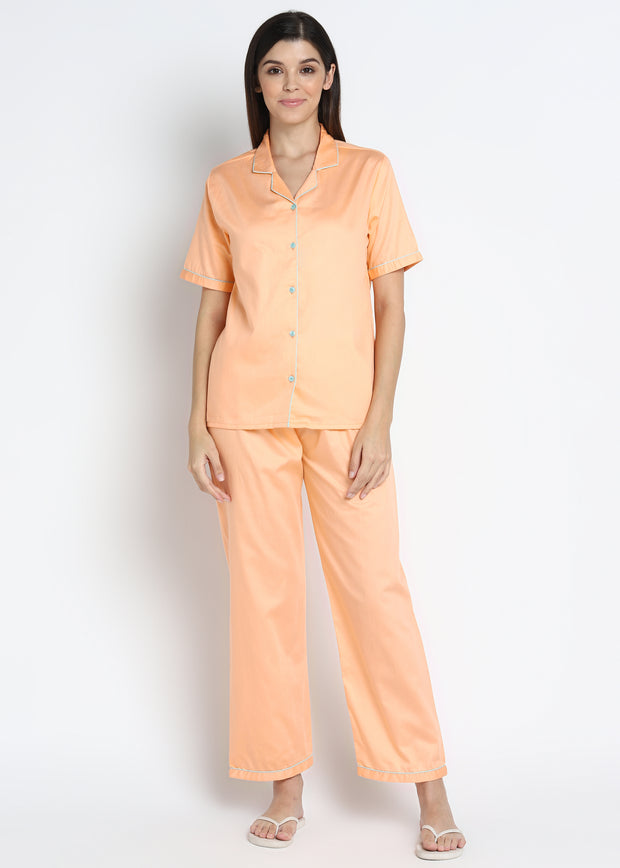 Peach Cotton Sateen Short Sleeve Women's Night Suit