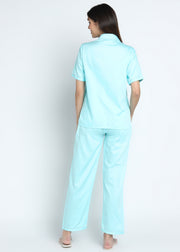 Mint Cotton Sateen Short Sleeve Women's Night Suit