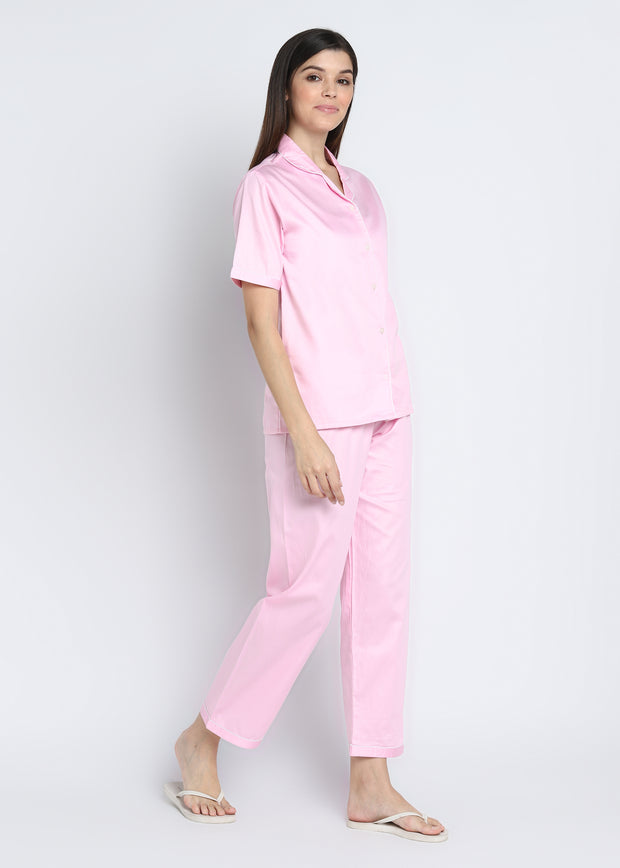 Baby Pink Cotton Sateen Short Sleeve Women's Night Suit