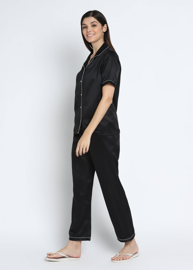 Ultra Soft Black Modal Satin Short Sleeve Women's Night Suit