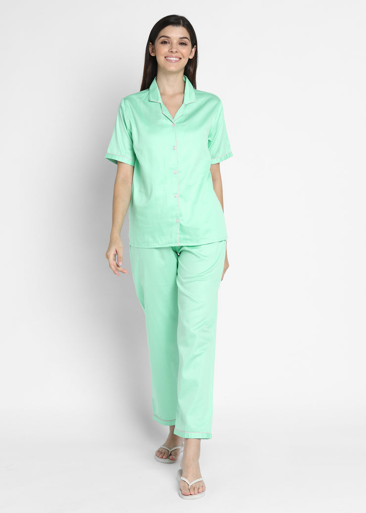 Seafoam Green Cotton Sateen Short Sleeve Women's Night Suit