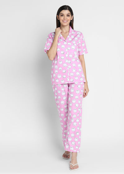 Pink Smiley Print Short Sleeve Women's Night Suit
