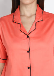 Orange Cotton Sateen Short Sleeve Women's Night Suit