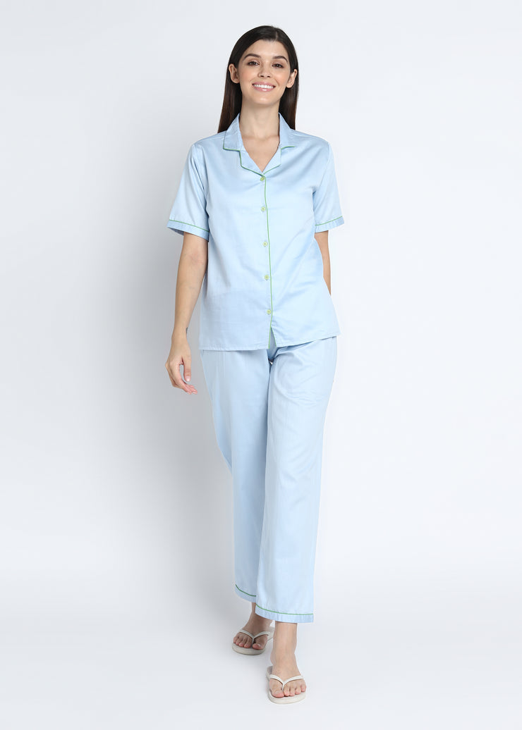 Sky Blue Cotton Sateen Short Sleeve Women S Night Suit Shopbloom