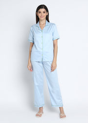 Sky Blue Cotton Sateen Short Sleeve Women's Night Suit