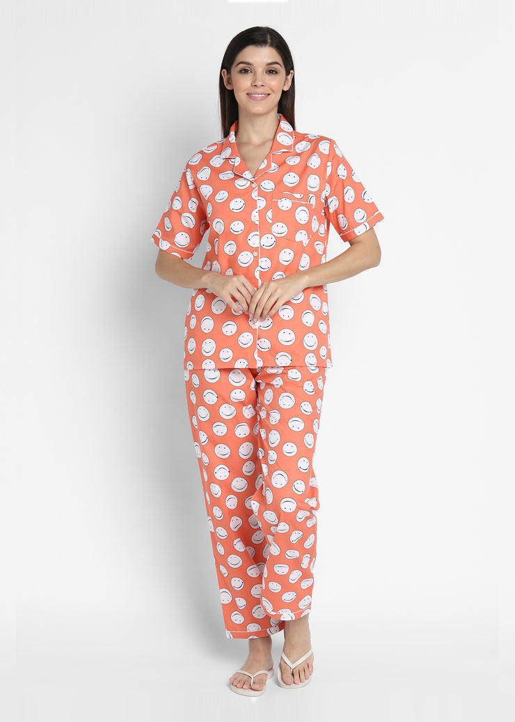 Orange Smiley Print Short Sleeve Women's Night Suit