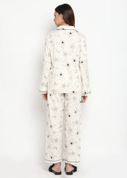 Star Gold Print Long Sleeve Women's Night Suit