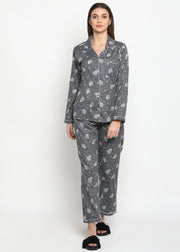 Sheep Print Long Sleeve Women's Night Suit
