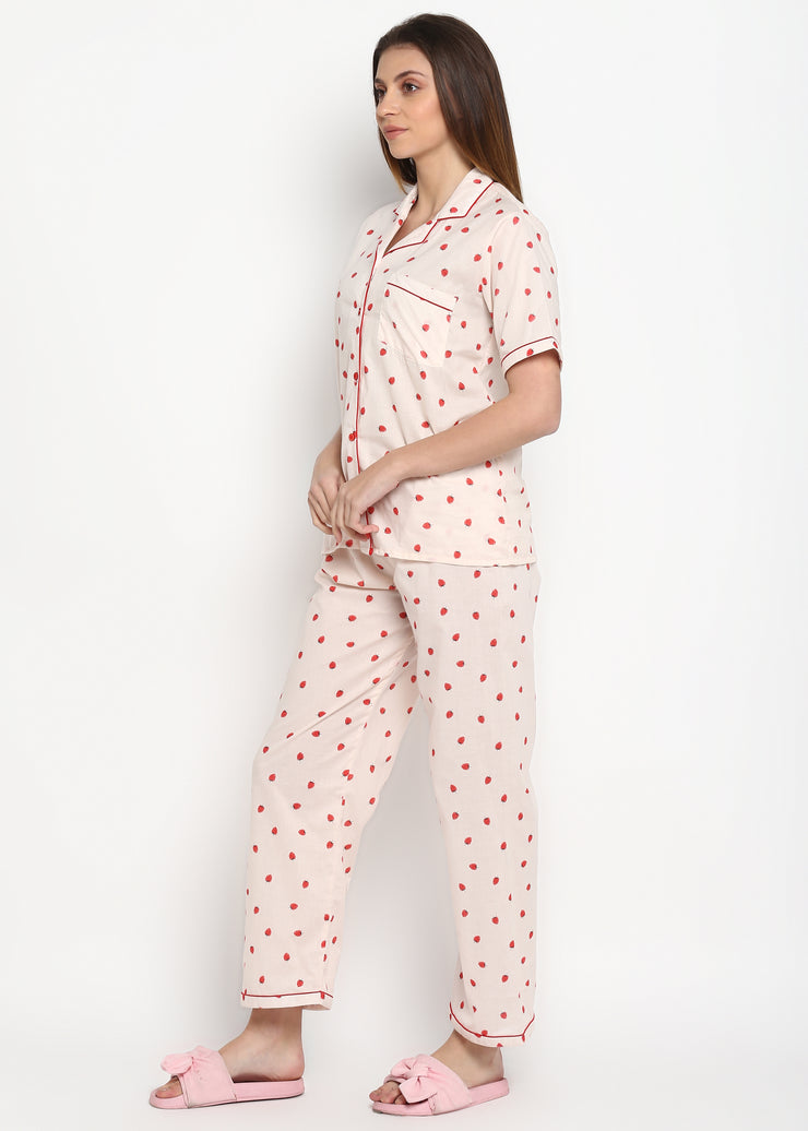Strawberry Print Short Sleeve Women's Night Suit