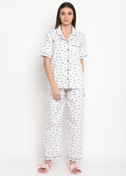 Dragon Fly Print Short Sleeve Nightsuit