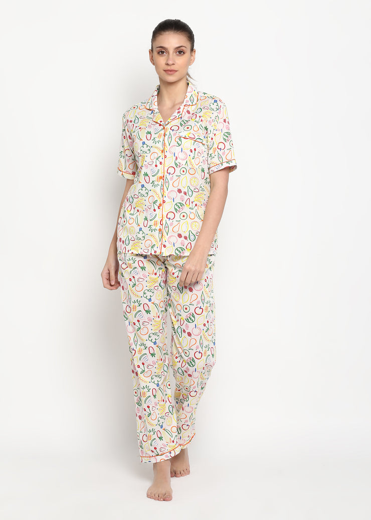 Fruit Print Short Sleeve Women's Night Suit