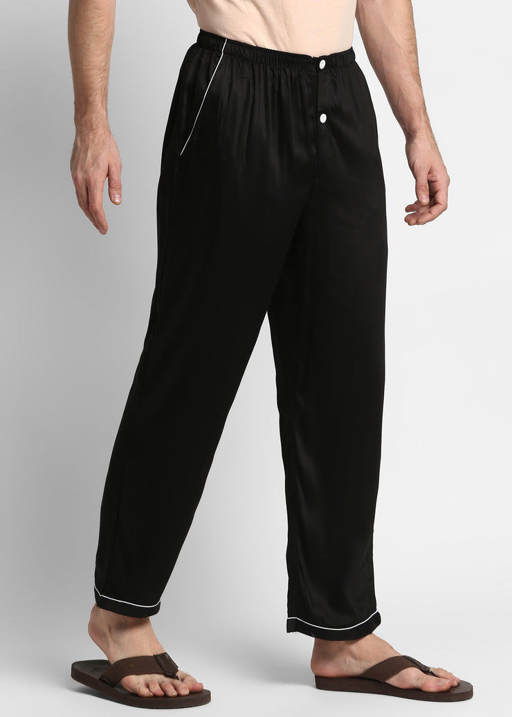 Ultra Soft Black Cotton Sateen Pyjama Bottoms